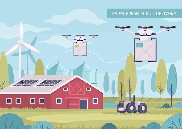 Inteligentna farma z ilustracją dostawy