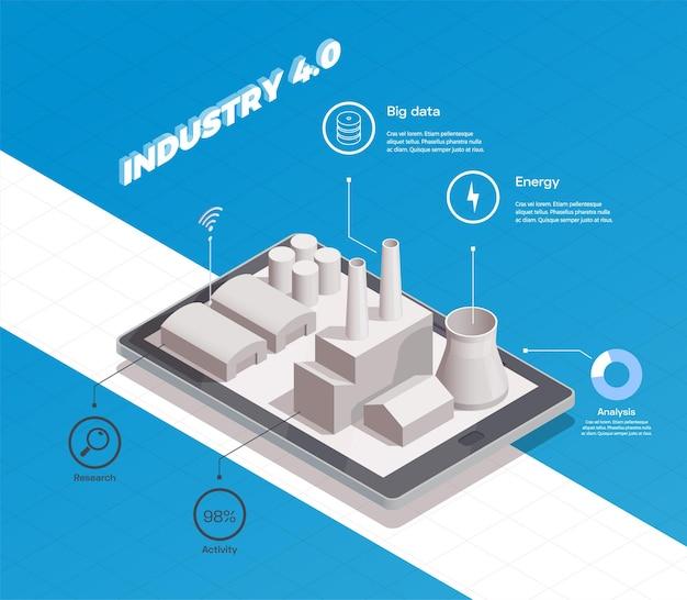 Inteligentna kompozycja izometryczna przemysłu z budynkiem fabrycznym