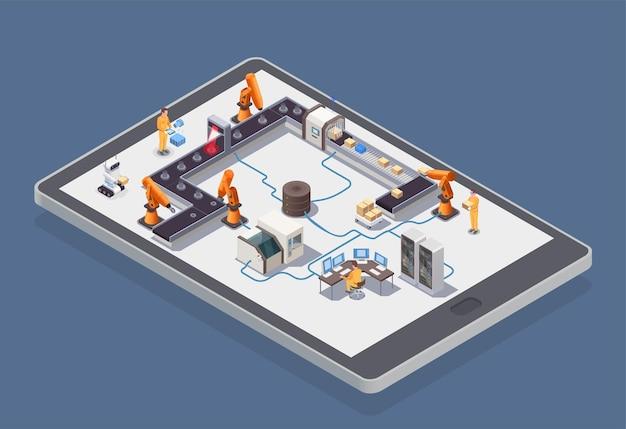 Inteligentna kompozycja izometryczna przemysłu ze zautomatyzowanymi robotami pracującymi na fabrycznym izometrycznym 3d