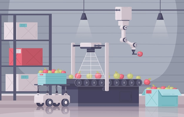 Inteligentna kompozycja kreskówek rolniczych z wewnętrzną scenerią zautomatyzowany wózek z manipulatorem do pudełek z owocami