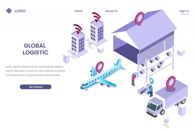 Inteligentna logistyczna wysyłka dla globalnej dostawy z ilustracją izometryczną