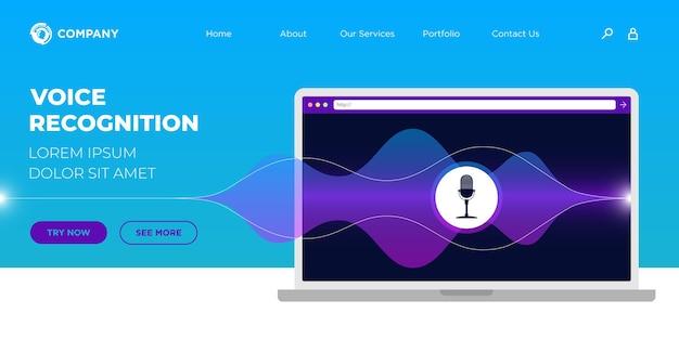 Inteligentna strona docelowa rozpoznawania osobistego asystenta głosowego online ui lub szablon projektu strony ux