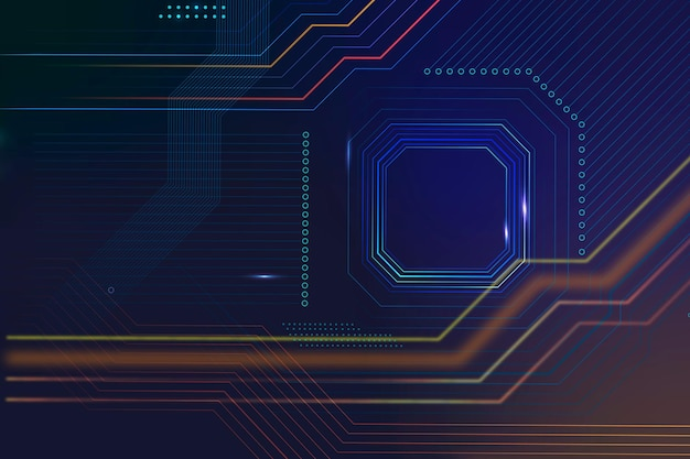 Inteligentna technologia mikroczipowa wektor tła w kolorze gradientowym niebieskim