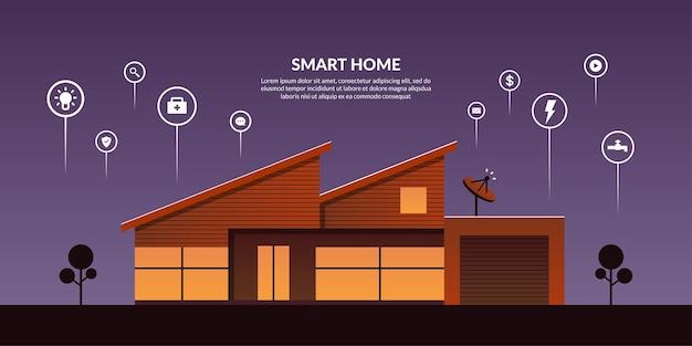 Inteligentna technologia sterowania domem z ikonami konturu, nowoczesna automatyka domowa