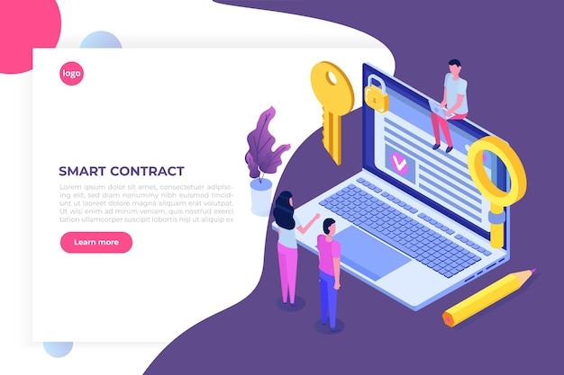 Inteligentna umowa, koncepcja izometryczna podpisu cyfrowego. technologia blockchain.