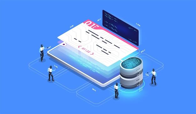 Inteligentna umowa, podpis cyfrowy. cyfrowy dostęp bezpieczeństwa z danymi biometrycznymi.