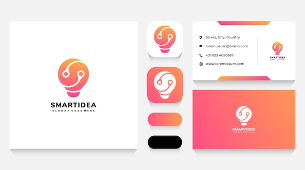 Inteligentna żarówka idea logo szablon i wizytówka