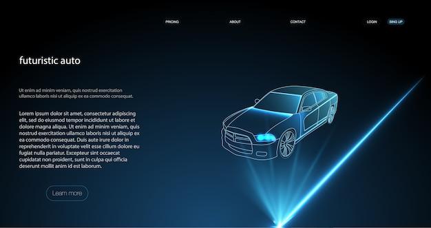 Inteligentne auto ai hud. ilustracja trybów pracy samochodu bez kierowcy.