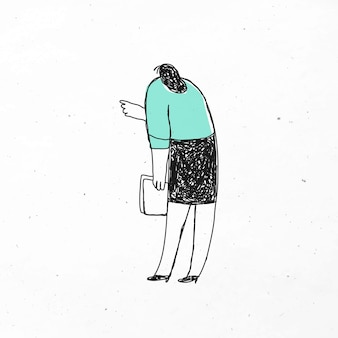 Inteligentne biuro kobieta wektor trzymając papiery doodle ikona