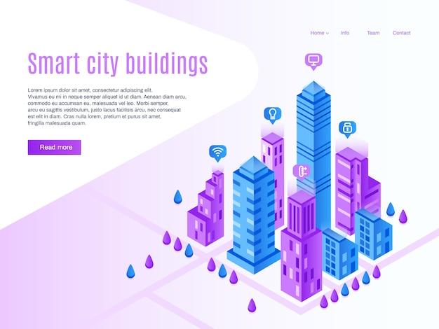 Inteligentne budynki miejskie. miejska strona docelowa, futurystyczny gród i inteligentne miasto izometryczny ilustracja