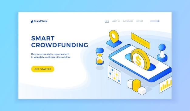 Inteligentne finansowanie społecznościowe. wektorowa ilustracja izometryczna nowoczesnego smartfona z monetą reprezentującą inteligentną aplikację crowdfundingową dla urządzeń na banerze. baner internetowy, szablon strony docelowej