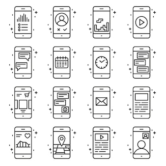 Inteligentne funkcje telefonu i aplikacje wektorowe zestaw ikon w stylu konspektu. kolekcja linii telefonicznej kolekcji ilustracji.