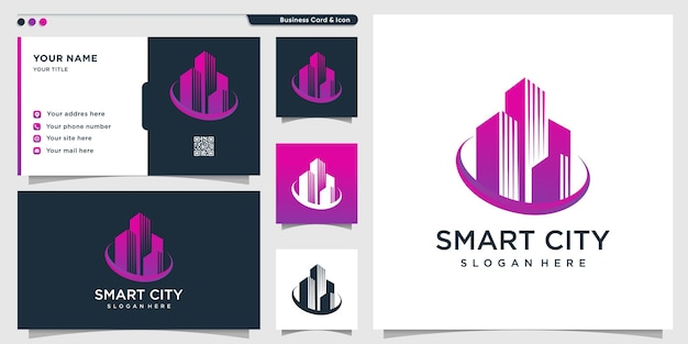 Inteligentne logo miasta z nowoczesnym gradientowym stylem kreatywnym i szablonem projektu wizytówek premium wektor