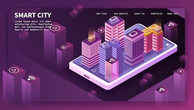 Inteligentne miasto, budynki i smartfon. ilustracja izometryczna.