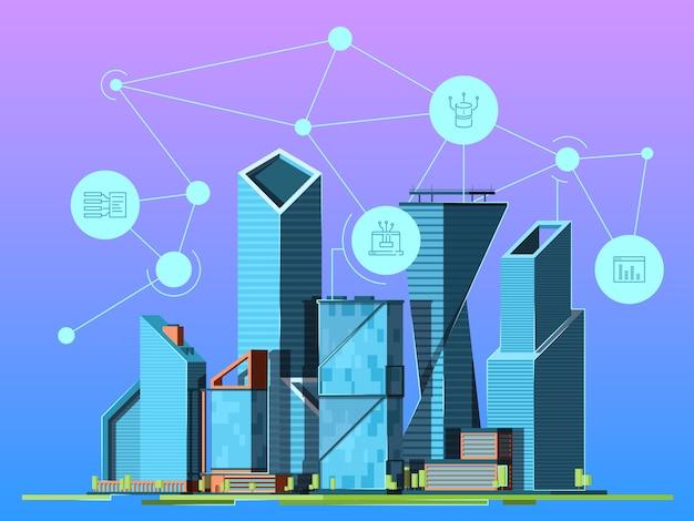 Inteligentne miasto drapacze chmur w miastowego krajobrazowego wysokiej technologii środowiska pejzażu miejskiego tła bezprzewodowym obrazku