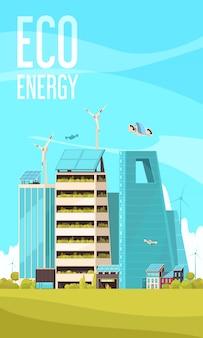 Inteligentne miasto energooszczędne infrastruktury klastrowe budynki za pomocą eko energii płaskiej pionowej promocji tła plakat
