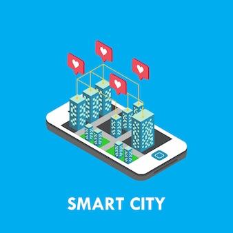 Inteligentne miasto izometryczny szablon wektor ilustracja