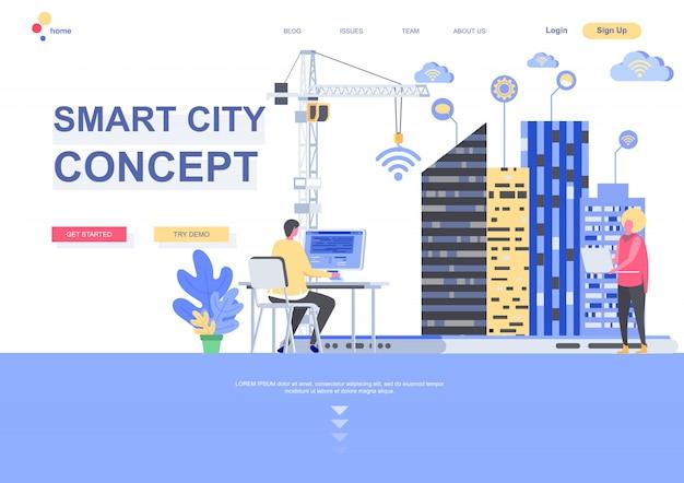 Inteligentne miasto koncepcja płaski szablon strony docelowej. internet przedmiotów, sieci bezprzewodowe, sytuacja inżynierii środowiska cyfrowego. strona internetowa ze znakami osób. ilustracja inteligentnej technologii