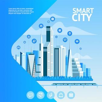 Inteligentne miasto. krajobraz miejski z elementami plansza. nowoczesne miasto. szablon strony internetowej koncepcja.
