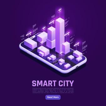 Inteligentne miasto na ekranie smartfona z izometrycznym internetem rzeczy