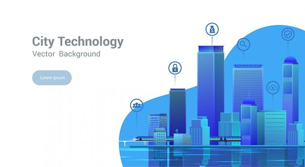 Inteligentne miasto, nowoczesne miasto, koncepcja strony internetowej szablon, miejski krajobraz z elementami infographic. ilustracja.