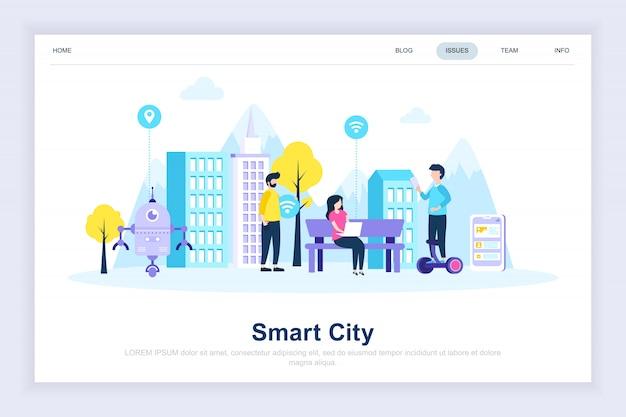 Inteligentne miasto nowoczesne nowoczesne płaskie landing page