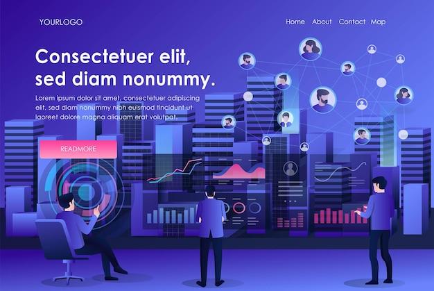 Inteligentne miasto z analizą danych technologicznych i siecią mediów społecznościowych związanych z transformacją cyfrową