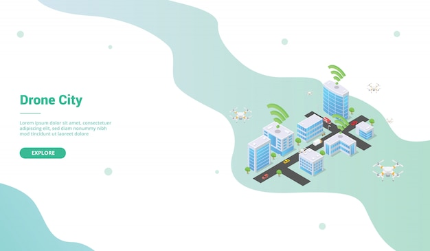 Inteligentne miasto z dronem do szablonu strony internetowej lub strony głównej w stylu izometrycznym
