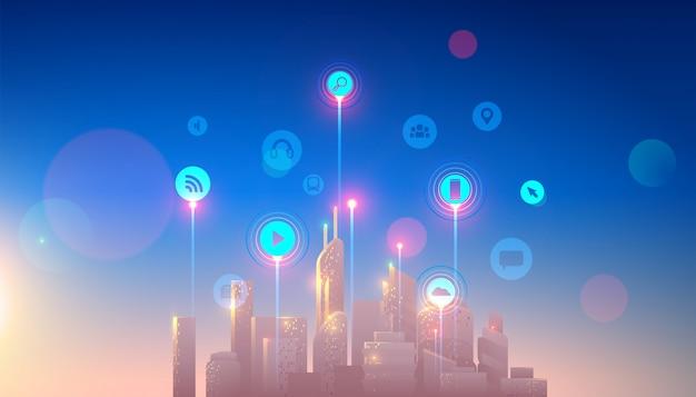 Inteligentne miasto z inteligentnymi usługami i ikonami, internetem rzeczy, sieciami