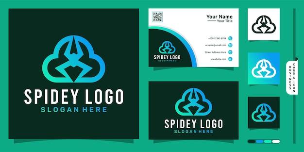 Inteligentne nowoczesne logo chmury z koncepcją pająka i projektem wizytówki wektor premium