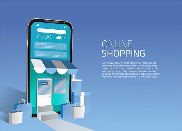 Inteligentne nowoczesne zakupy online 3d mobilne media społecznościowe