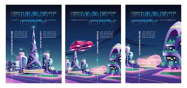 Inteligentne plakaty miejskie przedstawiające miasto nocą z drapaczami chmur, futurystycznymi budynkami i samochodami.