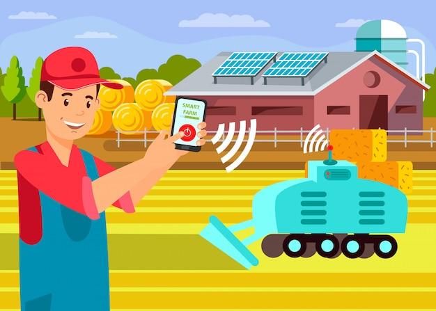 Inteligentne rolnictwo płaskie wektor. rolnictwo zaawansowane technologicznie