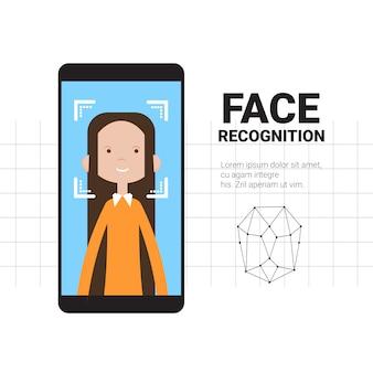 Inteligentne skanowanie telefonu kobieta twarz nowoczesny system rozpoznawania technologia kontroli dostępu koncepcja identyfikacji biometrycznej