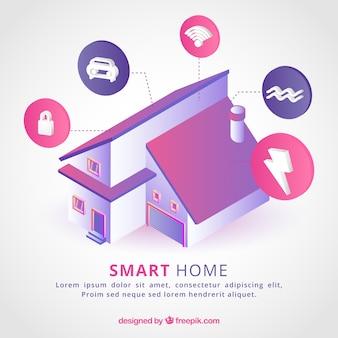Inteligentne tło domu w stylu izometrycznym