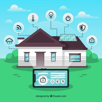 Inteligentne tło domu z kontrolą smarthphone