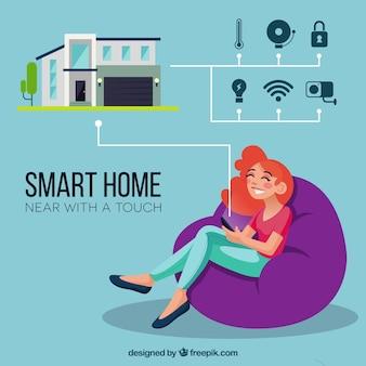 Inteligentne tło domu z urządzeniem