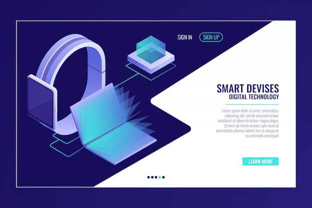 Inteligentne urządzenia, mobilność informacji, smartwatch z otwartą książką elektroniczną