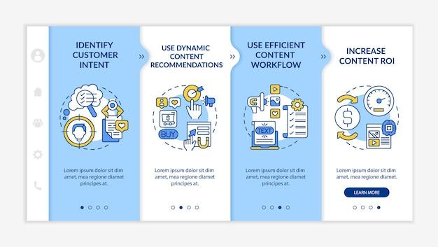 Inteligentne wskazówki dotyczące tworzenia treści — dołączanie szablonu wektorowego. responsywna strona mobilna z ikonami. przewodnik po stronie internetowej 4 ekrany kroków. koncepcja kolorystyczna marketingu cyfrowego z ilustracjami liniowymi
