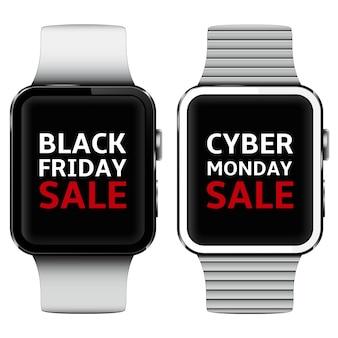 Inteligentne zegarki z tekstem wyprzedaży w czarny piątek i cyber poniedziałek na ekranie