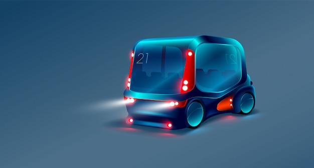 Inteligentny autobus na niebieskim tle