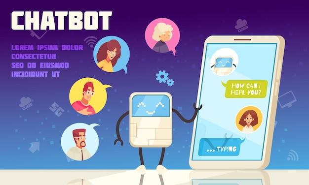 Inteligentny chatbot call center poprawiający płaską ilustrację obsługi klienta