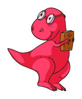 Inteligentny dinozaur z książką na białym tle