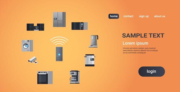 Inteligentny dom asystent wywiadu głośnik kontrolujący urządzenia gospodarstwa domowego urządzenia sieć koncepcja płaska kopia przestrzeń