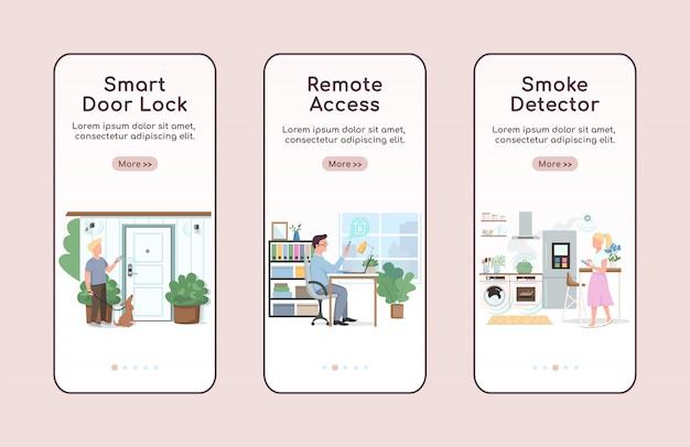 Inteligentny dom bezpieczeństwa onboarding aplikacji mobilnej ekran płaski szablon. zdalny dostęp i automatyzacja kroki witryny z postaciami. interfejs rysunkowy smartfona ux, ui, gui, zestaw wydruków skrzynek