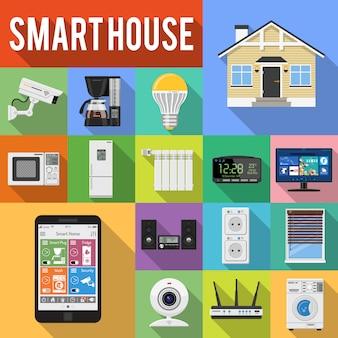 Inteligentny dom i internet rzeczy płaski zestaw ikon