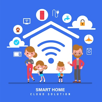 Inteligentny dom, internet rzeczy, iot, rodzina z ilustracją koncepcji inteligentnego domu. postać z kreskówki stylu płaska konstrukcja.