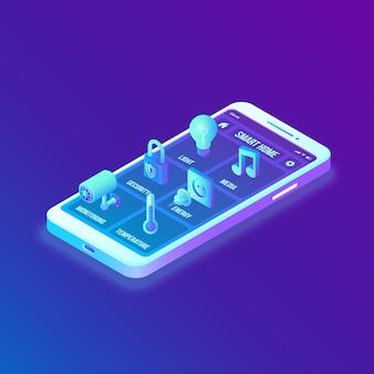 Inteligentny dom. izometryczny interfejs 3d na ekranie aplikacji smartfona. interfejs systemu zdalnego sterowania domem na smartfonie.