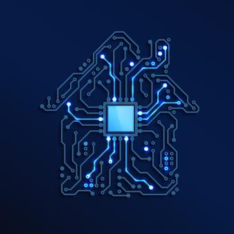 Inteligentny dom lub koncepcja iot blue circuit house z procesorem wewnątrz