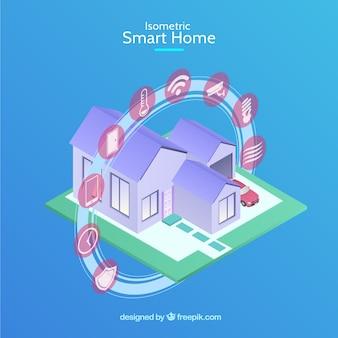 Inteligentny dom w stylu izometrycznym